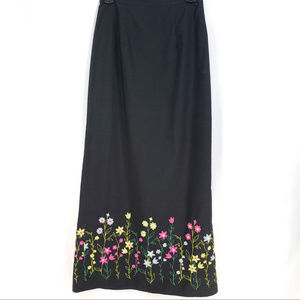Harold's Maxi Black Pencil Skirt Vtg Embroidered 4